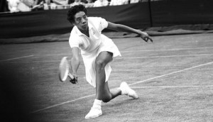Althea Gibson playing tennis
