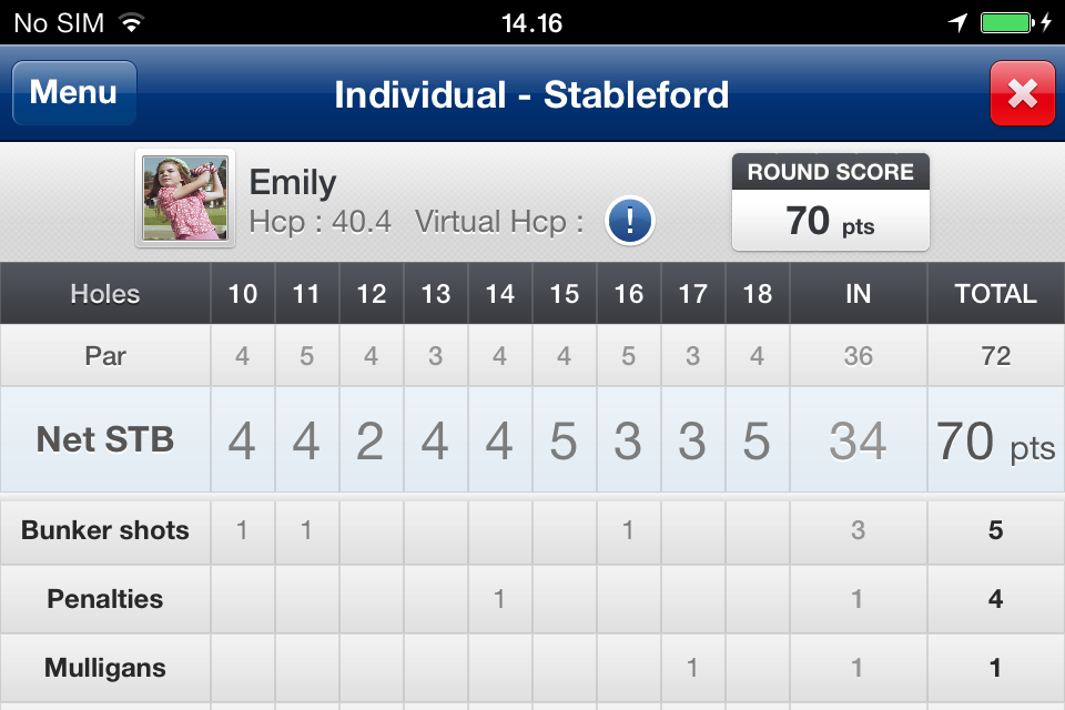 Mobitee Net Stableford - Emily